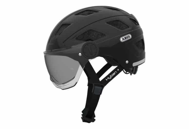 ABUS Hyban+ cykelhjelm, black, røgfarvet visir