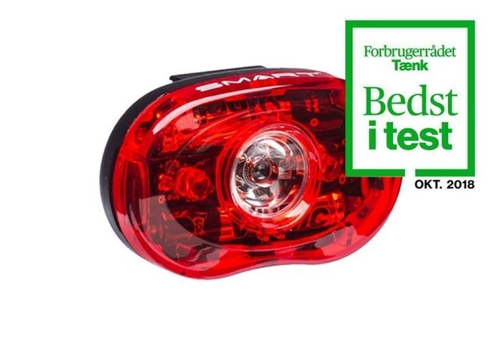 Smart Superflash cykellygte i rød med batteri - Testvinder