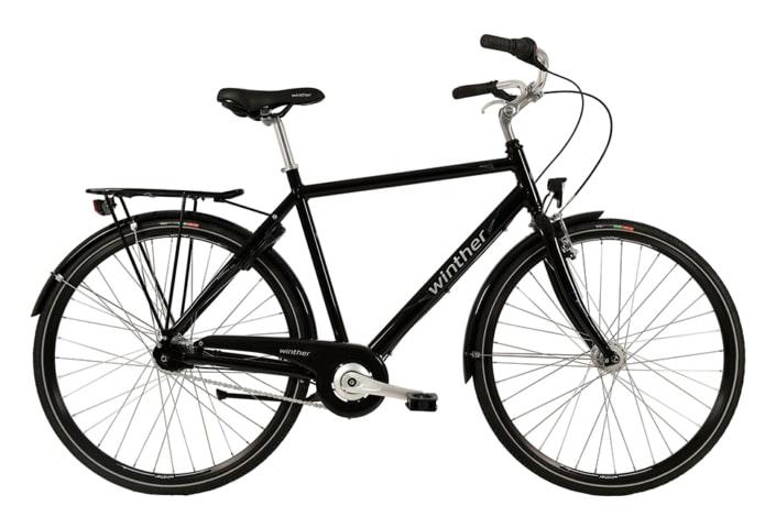 Winther Shopping Alu Herre Nexus 7g Fod/V-Bremse Dyn. forl Sort m. blå/sølv