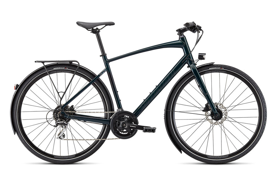 Specialized Sirrus 2.0 EQ 16 gear 2022 herrecykel i grøn - Gloss Forest green / Black reflective