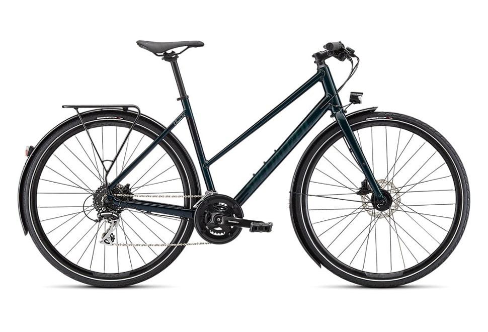 Specialized Sirrus 2.0 EQ 16 gear 2022 damecykel i grøn - Gloss Forest green / Black reflective