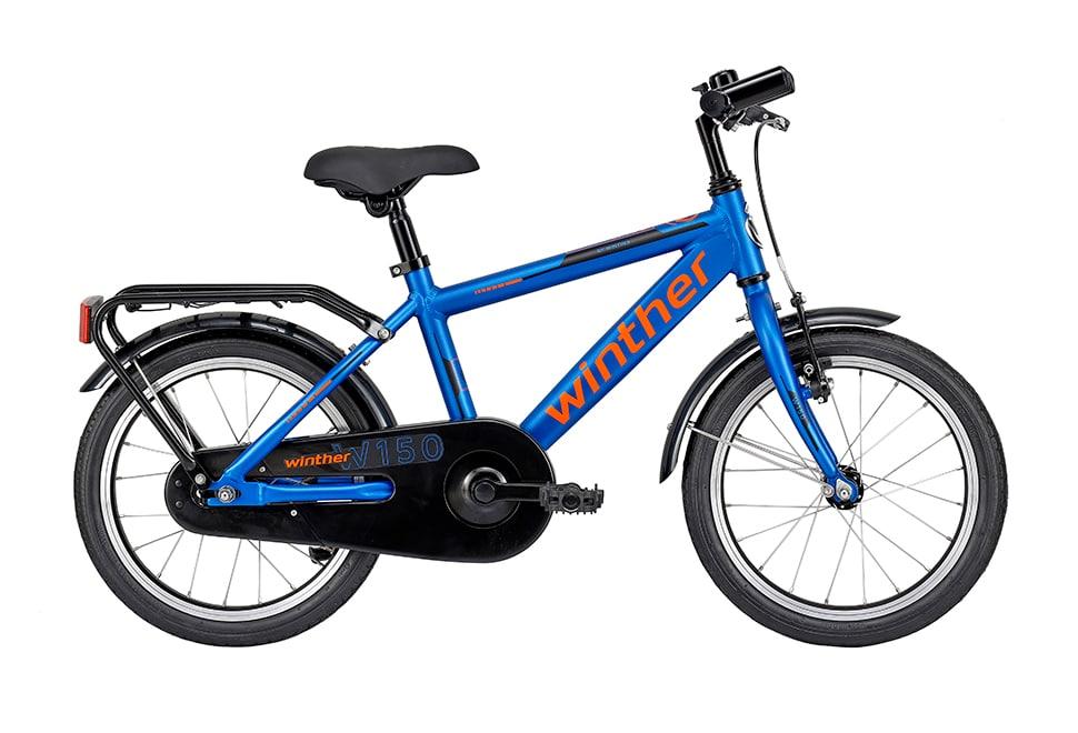 Winther 150 dreng 16in 1 gear Mat blå/orange drengecykel i blå