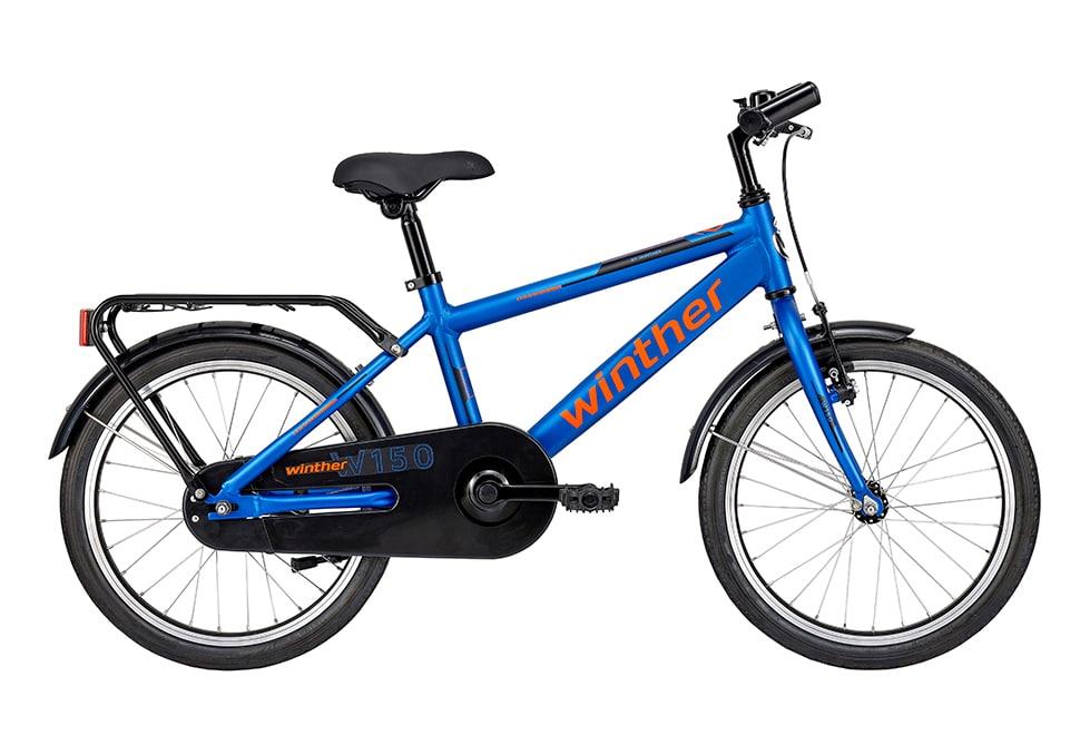 Winther 150 dreng 18in 1 gear Mat blå/orange drengecykel i blå